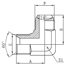 बीएसपी हायड्रोलिक अडॅप्टर्स रेखांकन