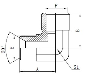 इंद्रधनुष्य बीएसपी अडॅप्टर फिटिंग्ज रेखांकन