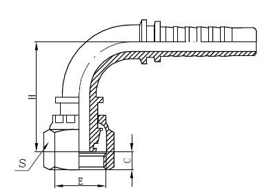 एक तुकडा नळी फिटिंग रेखांकन
