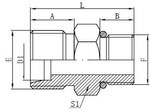 एसएई ओ-रिंग नोज कनेक्टर ड्रॉइंग